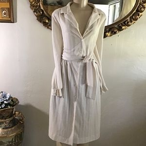 Vintage Beige Maxi Sheer Tie Dress